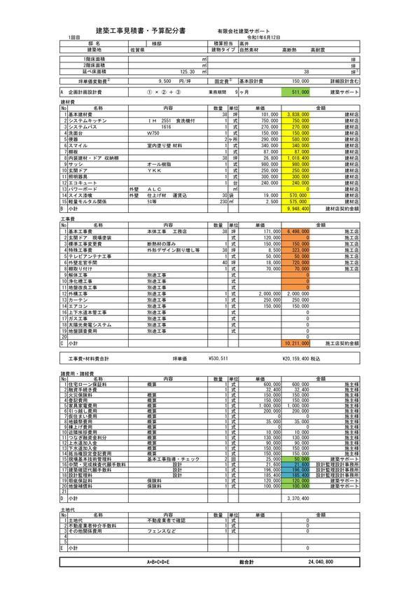 佐賀建築サポートの企画設計資金計画・見積サンプル